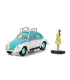 Classic Volkswagen Beetle with Roof Rack and Woman in Dress Solid Pack - The Hobby Shop Series 1
