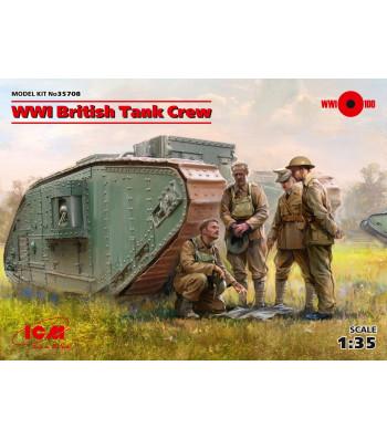 1:35 Британски танков екипаж от Първата световна война (100% нови отливки) - 4 фигури