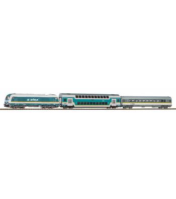 Стартов комплект Alex Hercules Дизелов локомотив с два пътнически вагона, PIKO A-релсов път с основа, епоха VI