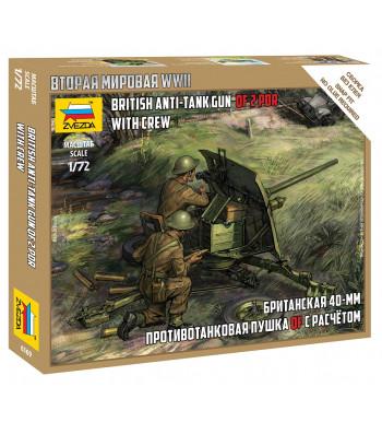 1:72 Британско 40ММ оръдие с акипаж (BRITISH 40 MM QF 2-pdr ANTITANK GUN WITH CREW) – сглобка без лепило