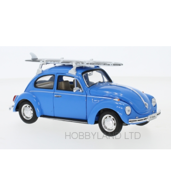 VW Beetle, blue, with Surfboard, 1972