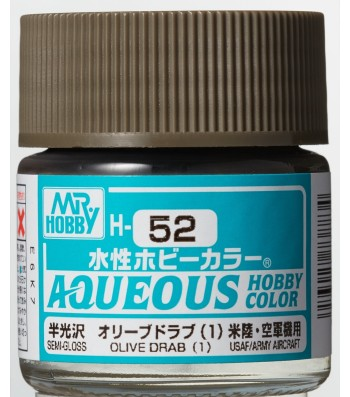 H-052 Semi-Gloss Olive Drab 1 (10ml) - Mr. Color for Aircraft Models, USA, WWII