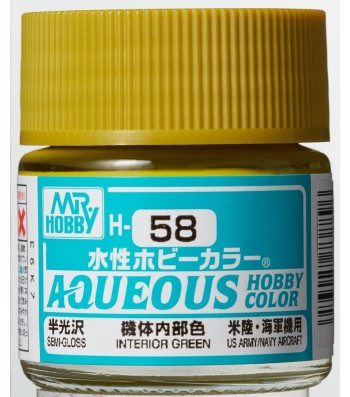 H-058 Semi-Gloss Interior Green (10ml) - Mr. Color for Aircraft Models, USA, WWII