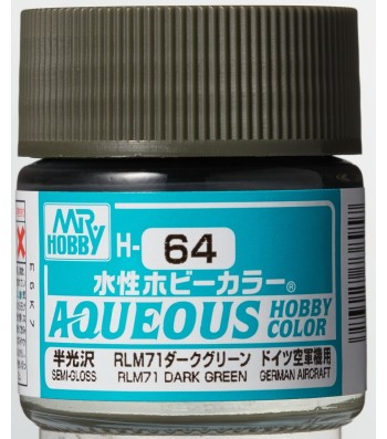 H-064 Semi-Gloss RLM71 Dark Green (10ml) - Mr. Color for Aircraft Models, Germany, WWII