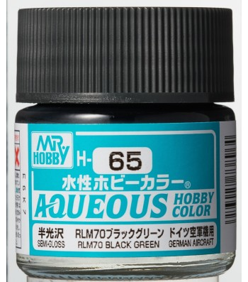 H-065 Semi-Gloss RLM70 Black Green (10ml) - Mr. Color for Aircraft Models, Germany, WWII