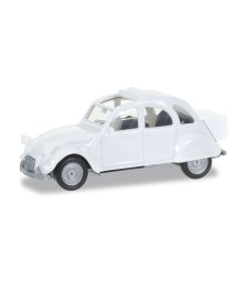 CITROEN 2CV WITH QUEUE, PEARL WHITE