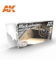 AK9010 BLACK INTERIORS AND CREAM WHITE - Cars & Vehicles Paint Set (6 x 17 ml)