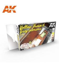 AK9020 YELLOW, BROWN & GREY INTERIORS - Cars & Vehicles Paint Set (6 x 17 ml)