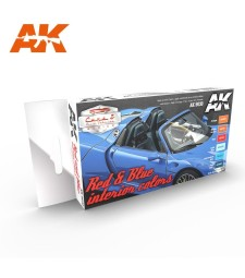 AK9030 RED & BLUE INTERIOR COLORS - Cars & Vehicles Paint Set (6 x 17 ml)