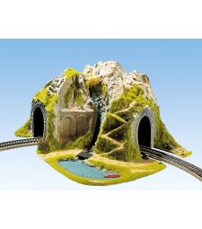 Тунел със завой, единична релса, 41 х 37 cm