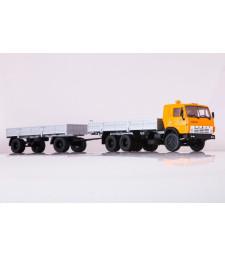 KAMAZ-53212 flatbed truck with flatbed trailer GBK-8350 /orange-grey/