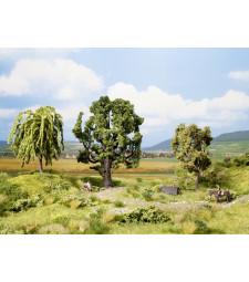 Дъб, плачеща върба и самодивско дърво - 15 см, 11 см, 11,5 см височина