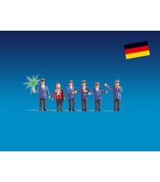 Германски служители на железопътния транспорт със сигнален диск - Светещи фигури