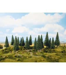 Елови дървета (H0, TT) - 16 броя, високи 10-14 см