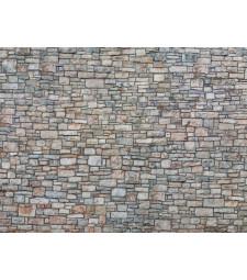 """Лист 3D картон """"Стена от дялан камък"""", многоцветен, 25 х 12,5 см (H0)"""