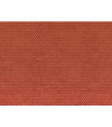"""Лист 3D картон """"Обикновена плочка"""" червен, 25 х 12,5 см (H0)"""