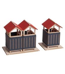 Съблекалня (единична кабина: 2,5 х 2,5 см, височина 3,5 см, двойна кабина: 4,2 х 2,5 см, височина 3,5 см) - H0