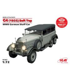 1:72 Германски щабен автомобил Г4 (G4) (1935) с гюрук, Втора световна война, сглобка без лепило