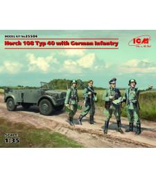 1:35 Германски военен автомобил Хорх 108 Тип 40 с пехотинци (Horch 108 Typ 40 with German Infantry) - 4 фигури
