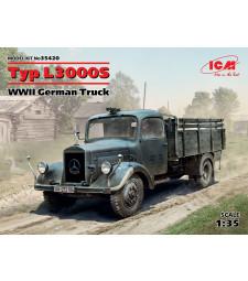 1:35 Германски военен камион Мерцедес Тип Л3000С (Typ L3000S, WWII German Truck) (100% нови отливки)