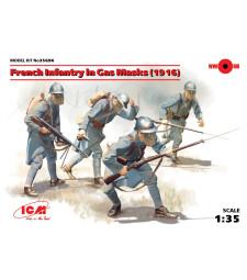 1:35 Френски пехотинци с газови маски, 1918 (French Infantry in Gas Masks, 1918) - 4 фигури