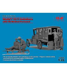 1:35 Линейка на американската армия Форд Модел Т, 1917 с медицински персонал (Model T 1917 Ambulance with US Medical Personnel) - 4 фигури