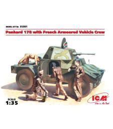 1:35 Френски брониран автомобил Панар 178 с екипаж (Panhard 178 with French Armoured Vehicle Crew) - 4 фигури