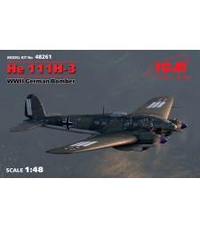 1:48 Германски бомбардировач He 111H-3, WWII German Bomber (100% new molds)