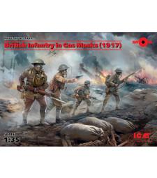 1:35 Британски пехотинци с газови маски (British Infantry in Gas Masks) (1917) (4 фигури)