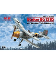 1:32 Германски тренировъчен самолет Букер Бу 131Д (Bucker Bu 131D, WWII German Training Aircraft) (100% нови отливки)