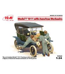 1:24 Автомобил Форд Модел Т 1911 с механици (Model T 1911 Touring with American Mechanics) (3 фигури)