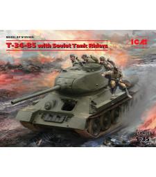 1:35 Съветски танк Т-34-85 с екипаж (4 фигури) (T-34-85 with Soviet Tank Riders)