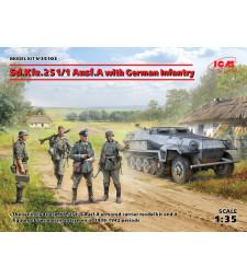 1:35 Германски пехотинци и бронетранспортьор Sd.Kfz.251/1 Ausf.A (4 фигури)