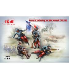 1:35 Френска пехота в поход (1914) (4 фигури) (100% нови отливки)