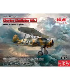 1:32 Британски биплан изтребител Глостър Гладиатор Мк. I, Втора световна война (Gloster Gladiator Mk.I, WWII British Fighter)