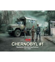 1:35 Чернобил # 1. Станция за радиологичен мониторинг (камион ЗиЛ-131KShM & 5 фигури и база за диорама с фон)