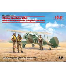 1:32 Самолет Gloster Gladiator Mk.I с британски пилоти в тропическа униформа