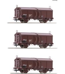 Комплект от 3 товарни вагона с плъзгащ се покрив, OBB, епоха IV-V