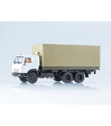 KAMAZ-53212 Flatbed Truck with Tent, White-Beige