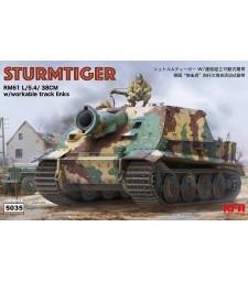1:35 Германска тежка самоходна минохвъргачка Щурмтигър с работещи вериги (STURMTIGER W/WORKABLE TRACK LINKS)