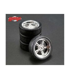 Chrome Custom Muscle Car Wheel & Tire Pack