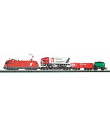 Стартов комплект Taurus OBB с 3 товарни вагона, с релсов път PIKO A- Track с основа