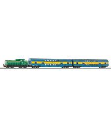Стартов комплект PKP SM42 Дизелов локомотив с 2 двуетажни вагона PKP V PIKO и релсов път A-Track