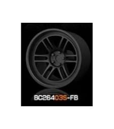 1:64 Комплект състезателни гуми и джанти 7.4MM-8.9MM FLAT BLACK - 4 броя