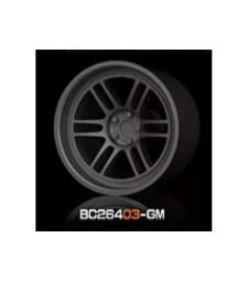 1:64 Комплект състезателни гуми и джанти 8MM-9.8MM GUN METAL - 4 броя