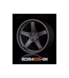 1:64 Комплект състезателни гуми и джанти 7.4MM-8.9MM GUN METAL - 4 броя
