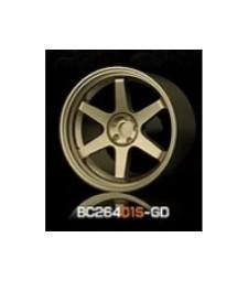 1:64 Комплект състезателни гуми и джанти 7.4MM-8.9MM GOLD - 4 броя