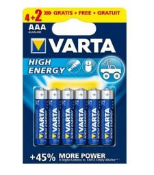 Батерия алкална VARTA HIGH ENERGY LR 03 AAA ( опаковка 4+2 броя)
