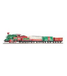 Коледен стартов сет от парен локомотив с 3 вагона, релсов път с основа PIKO A-track