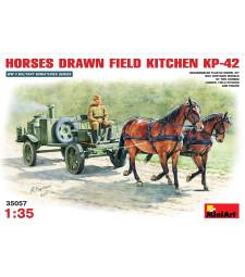 1:35 Полева кухня, теглена от конски впряг (Horses drawn field kitchen KP-42)  - 1 фигура на човек, 2 фигура на коне